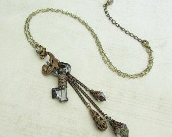 Secrets Revealed I - Silver Night Swarovski, Crystal Key Pendant, Gothic Jewelry, Skeleton Key Steampunk Necklace, Key Charm Necklace