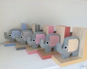 Elephant Bookends, Elephant Nursery, Elephant Kids Decor, eco-friendly, Your color choice