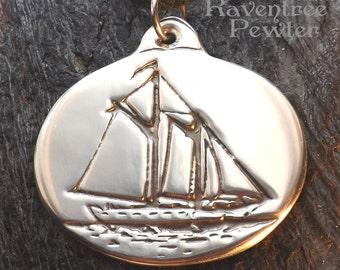 Windjammer Isaac H Evans - Pewter Pendant - Ketch Schooner Midcoast Maine, Ocean Sailing Ship Jewelry