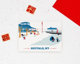 A Buffalo NY Cards, A Winter Wonderland, Outer Harbor, Ice Fishing Notecards