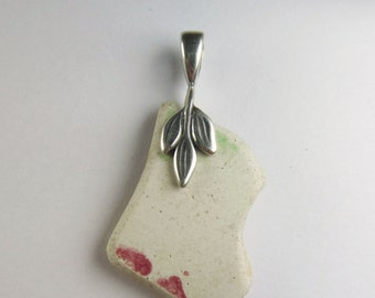 English pink and green broken pottery jewelry - gift under 10 dollars - clearance