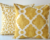 Gold Ivory Set of 2 Decorative Throw Pillow Quatrefoil COVERS-  Golden Rod Macon Madrid, Seville, Goldenrod, 16x16, 18x18, 20x20