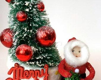 Christmas Spun Cotton Santa in Vintage Santa Boot Centerpiece Decoration