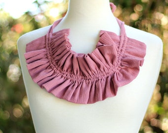 Victorian Style Fashion Collar - Ruffled Choker in Mauve Cotton Gauze - Lots of Colors