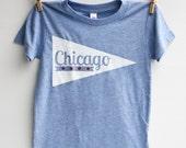Chicago Pennant - kid t-shirt, hand printed