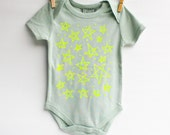 Star Bright - hand printed, organic baby bodysuit
