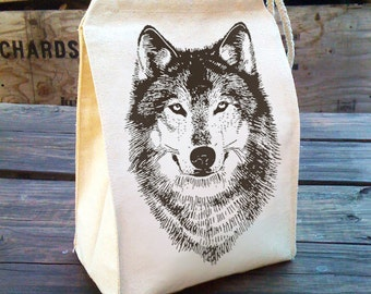 Wolf Lunch Bag, Eco friendly Lunch bags, hungry like a wolf, Waldorf Lunch Bag, Lunch Tote, Reusable Recycled Cotton Canvas Lunch Bag