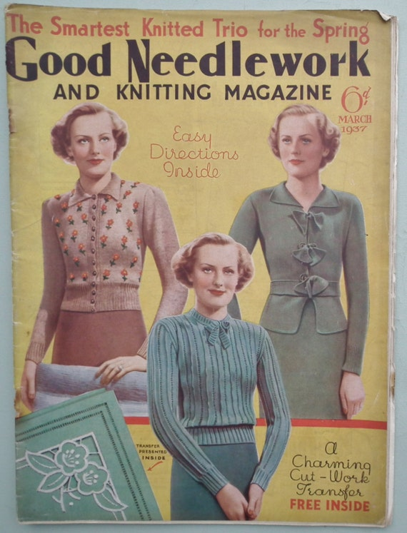 Knitting Magazines Free Patterns : Vintage 1930s Knitting Sewing Magazine Good by sewmuchfrippery