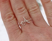 Initial Ring, Sterling Silver, Letter, Small, Wire Jewelry