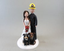 Bride & Firefighter Groom with Dogs in Tuxes Customized Wedding Cake Topper