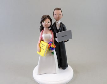 Doctor & Computer Geek Personalized Wedding Cake Topper