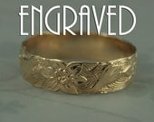 Solid 14K Gold Signs of Spring Ring--Customized Engraved Gold Floral Wedding Band-Solid 14K Yellow Gold--Gold Flower Ring-Made to Size
