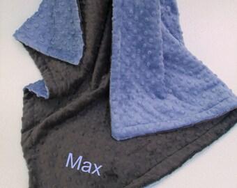 Denim Blue and Slate Gray Dot Minky Baby Blanket for Boy