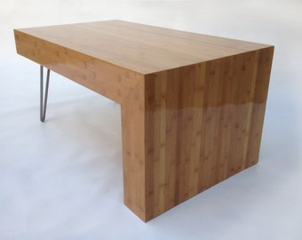 Modern Entry Bench Mid Century Contemporary Hall Table Console Coffee Table Bench in Caramelized Bamboo w/ Hairpin Legs