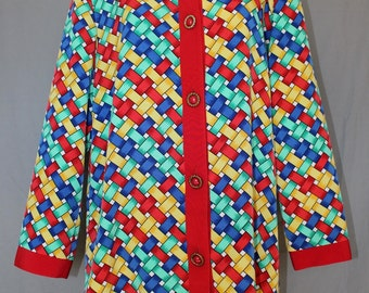 Vintage Woman's Blouse Jacket by Caron Components, Primary Colors Basketweave Pattern, 1980's