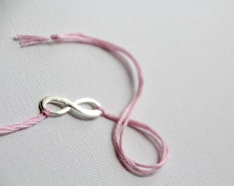 pink thread bracelet infinity jewelry valentine wish bracelet friendship bracelet silver jewelry wishlet wedding favors bridesmaid gift