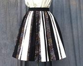 Designer Colour Block Skirt   Cream and Black Stripe Skirt   Ethnic Print Panel Skirt
