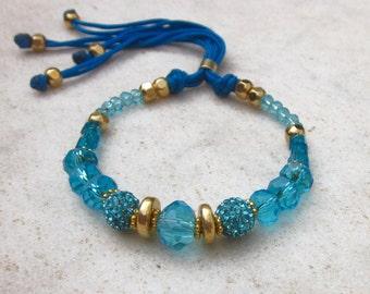 Blue crystals pave ball bracelet, beaded friendship bracelet, crystal ball bracelet, rhinestone bracelet, blue gold bracelet, bohemian