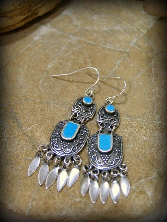 Turquoise Earrings, Silver Chandelier Earrings, Bohemian Dangle Earrings, Womens Southwest Jewelry, Bohemian Jewelry, Tribal Earrings