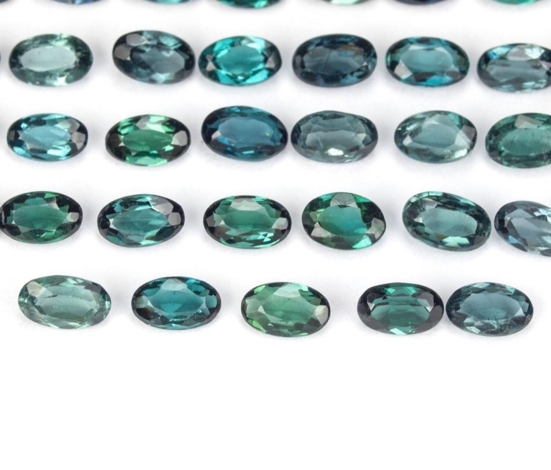 1 blue tourmaline gemstone 5 x 3 mm each faceted gemstone
