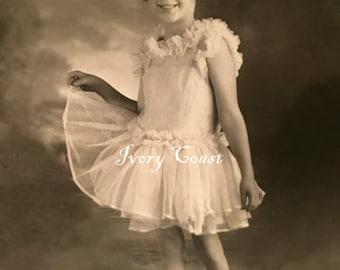 Little Girl in Ballerina Dress Vintage Photo.  Digital Download.