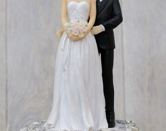 Embroidered Silver Bride and Groom Wedding Cake Topper - Custom Painted Hair Color Available - Groom in Navy Suit - 101920/21