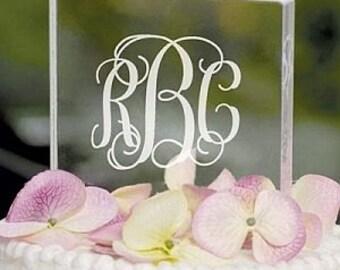 Personalized Monogram Acrylic Square Cake Topper - 1305-1