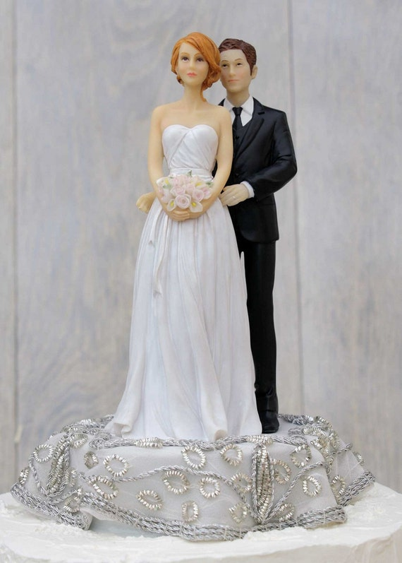 Embroidered Silver Bride And Groom Wedding Cake Topper