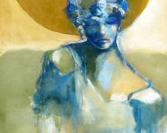 "Portrait of a Woman in Yellows and Blues - ""La Bella Luna"" - 30 x 30 in Mixed Media, Abstract Figurative Art"