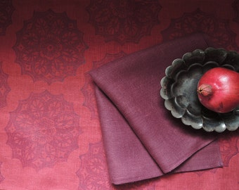 Red Port Wine Lace Medallion hand block printed linen Christmas holiday home decor table runner your choice of size