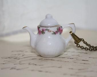 Teapot Necklace - Teatime Alice Wonderland Tea Necklace Porcelain Whimsical Teapot