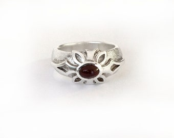 Carnelian Snowflake ring || Hand crafted Sterling silver ring || A unique woman ring || Christmas Gifts Collection || Winter 2014