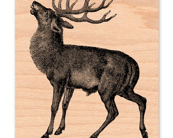 DEER STAMP BUCK  Stag with Antlers Reindeer Male large illustration Dad or Fathers Day Rubber Stamp wood mounted Rustic Lodge Cabin (48-23)