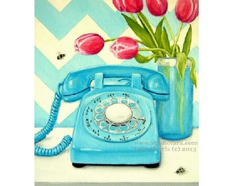Chevron and Tulips...Original Oil Painting by LARA - 11x14 Vintage Telephone Still Life Floral