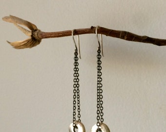 Spinning Solid Silver Puka Shell Chain Drop Earrings