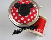 Mini Pincushion Storage Jar. Red Polka-Mouse.