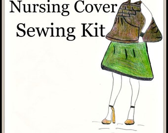 Plus Size Pattern-Sewing Kit-Designer Nursing Cover-Pre Cut Fabric Pattern-Carry Bag-Signature Pocket Style-Custom Color-Bonus