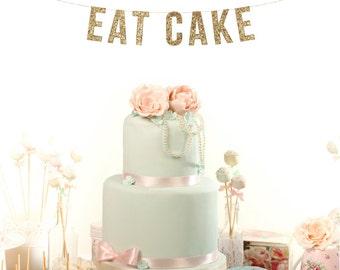 EAT CAKE Glitter Garland. Wedding Photos. Birthday Party. Party Decor