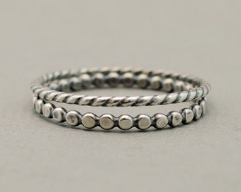 Sterling Silver Rings 2 thin oxidized silver stacking rings