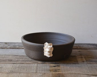 Black stoneware bowl with porcelain organic application - decorative bowl - Stoneware (grès) Bowl