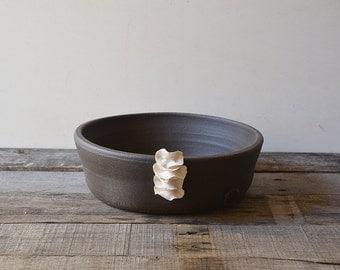 Black stoneware bowl with porcelain organic application - decorative bowl - Stoneware (grès) Bowl