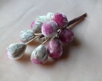 Pink Mauve Grapes Velvet Millinery for Hats, Costumes, Wreaths, Garlands