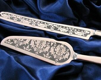 Damask Wedding Cake Server and Knife Set, Personalized Reception Decor, Wedding Present