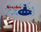 Personalized Boy Name Decal, Underwater Submarine Vinyl Wall Sticker with bubbles