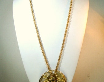 SALE, Monet Gold Wire Flower Pendant on Rope Chain, Mid century, 1960s Signed Hangtag