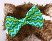 Baby Bow Headband, Headband, Baby Headband, Toddler Headband, Green, Yellow and Mint Chevron Hair Bow, Girl's Headband, Pet Bow Tie