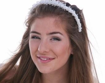 SALE Hand Beaded Wedding Tiara One of a Kind Beaded Bridal Headpiece, Wedding Hair Accessory Beaded Headband, White Bridal Headpiece