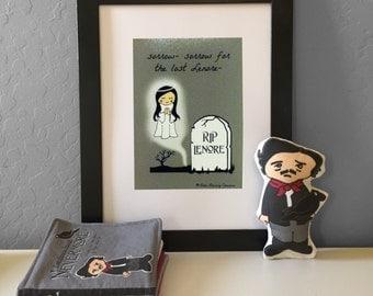 Sorrow for the Lost Lenore Little Literary Classics Edgar Allan Poe The Raven Illustration photo art print unframed