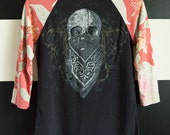 Death of an Outlaw UPCYCLED Raglan Sleeve Ladies T-Shirt size SM/MD
