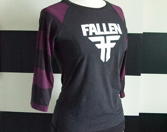 Fallen UPCYCLED Raglan Sleeve Ladies T-Shirt size MD/LG